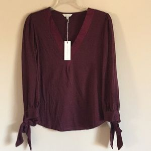 Lucky Brand Cotton & Viscose tie Sleeved Top
